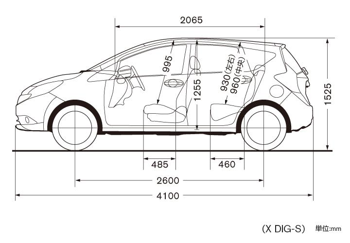 日産:ノート Note コンパクトカー   スペック・標準装備   車体寸法