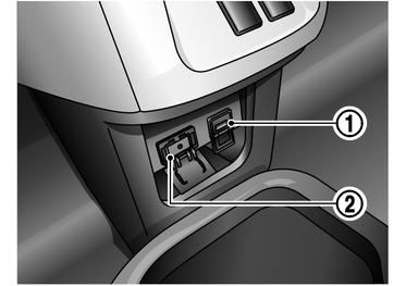 USBメモリおよびAUX(外部機器)接続位置
